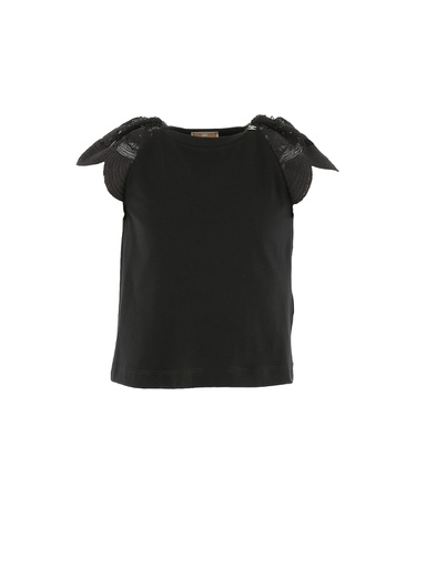T-SHIRT IN JERSEY CON MANICA IN TULLE RICAMATO
