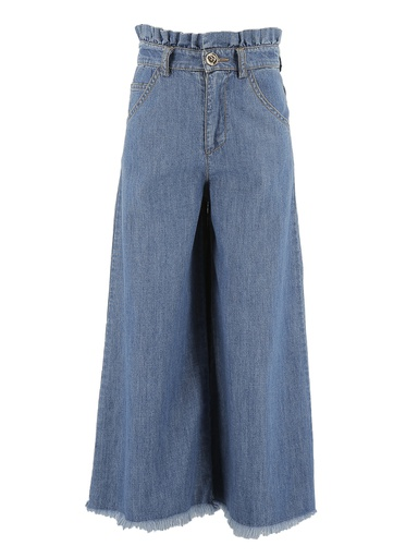 PANTALONE ZAMPA LARGA IN TELA CHAMBRAY