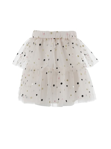 GONNA CON BALZE IN TULLE RICAMO POIS MULTICOLOR