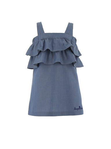 ABITO A BRETELLE CON BALZE IN CHAMBRAY