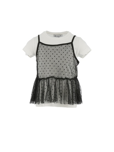 T-SHIRT CON TOP IN TULLE CUORI
