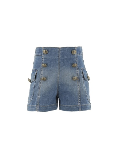 SHORTS DENIM CON BOTTONI LOGATI